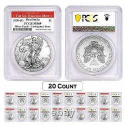 Lot De 20-2020 (s) 1 Oz Silver American Eagle Pcgs Ms 69 Fs (sf) Emergency Issue