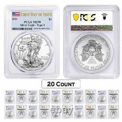 Lot De 20 2021 1 Oz Silver American Eagle Coin Pcgs Ms 70 Premier Jour D'émission