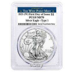 Lot De 20 2021 (w) 1 Oz Argent American Eagle Coin Pcgs Ms 70 Fdoi West Point