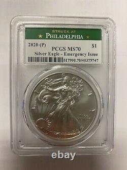 Lot De 20 Coins- 2020 (p) American Silver Eagle Pcgs Ms70 D'urgence Philadelphie