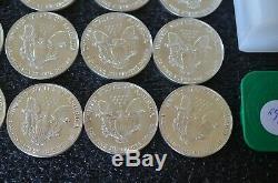 Lot De 20 Pièces 1987 1 Oz D'argent American Eagle 1 $ Coin Bu 1 Rouleau