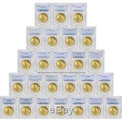Lot De 25 Pièces $ 20 Double Eagle De Saint Gaudens Pcgs Ms63 Choice Gold Au Hasard Année Aléatoire