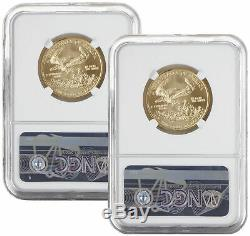 Lot De 2 2002 25 $ 1/2 Oz Américaine Gold Eagle Ms69 Ngc Brown