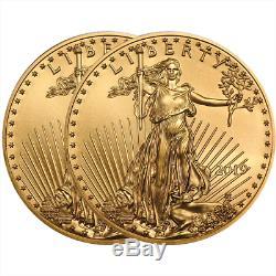 Lot De 2 2019 $ 5 American Gold Eagle 1/10 Oz Brillant Non Circulé