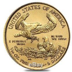 Lot De 2 2020 1/10 Oz D'or American Eagle 5 $ Coin Bu
