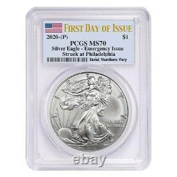Lot De 2 2020 (p) 1 Oz Silver American Eagle Pcgs Ms 70 Fdoi Question D'urgence