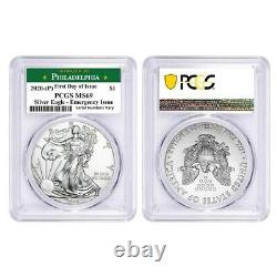 Lot De 2-2020 (p) 1 Oz Silver Eagle Pcgs Ms 69 Fdoi Philadelphia Question D'urgence