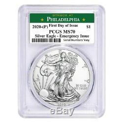 Lot De 2-2020 (p) Problème 1 Oz Silver Eagle Pcgs Ms 70 Fdoi Philadelphie Urgence