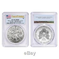 Lot De 2 2020 (p) Question 1 Oz D'argent American Eagle Pcgs Ms 69 Fs D'urgence