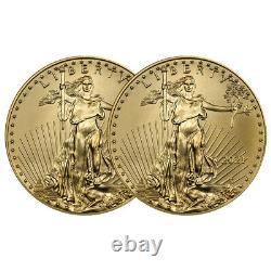 Lot De 2 2021 $10 American Gold Eagle 1/4 Oz Brilliant Uncirculated