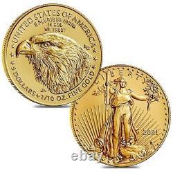 Lot De 2 2021 1/10 Oz Aigle D'or Américain $5 Coin Bu Type 2