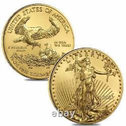 Lot De 2 2021 1/2 Oz Gold American Eagle $25 Coin Bu
