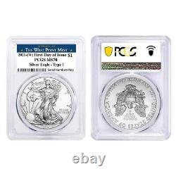 Lot De 2 2021 (w) 1 Oz Argent American Eagle Coin Pcgs Ms 70 Fdoi West Point