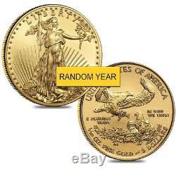 Lot De 2 Pièces De Monnaie Us $ 5 De 1/10 Oz D'or (année Aléatoire)