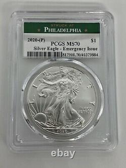 Lot De 2 -rare 2020 (p) American Silver Eagle Pcgs Ms 70 Philadelphie Urgence