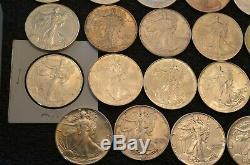 Lot De 35 American Silver Eagles Pleine Course Date De 1986-2020 Comprend 1996 Le Tableau D
