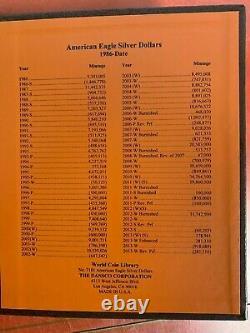 Lot De 36 Ensemble Complet D'aigles D'argent Américain Dans L'album Dansco! 1986-2021 Aigles