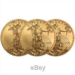 Lot De 3 2019 $ 5 American Gold Eagle 1/10 Oz Brillant Non Circulé