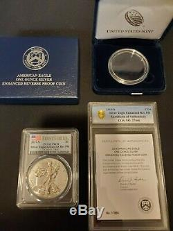 Lot De 3 2019-s Silver Eagle Enhanced Proof Inverse Pr70 First Strike Pcgs Withcoa