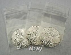 Lot De 3 2020 1 Oz. American Silver Eagle $1 Pièces Gem Bu