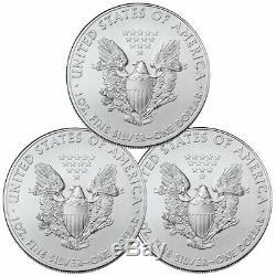 Lot De 3 2020 1 Oz American Silver Eagle 1 $ Pièces Gem Bu Délai Sku59437