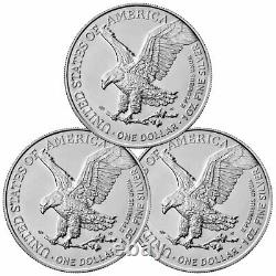 Lot De 3 2021 American 1 Oz Silver Eagle T-2 Gem Bu Presale