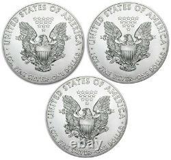 Lot De 3- 2021 American Eagle Coins 1 Oz. 999 Fine Silver In Stock