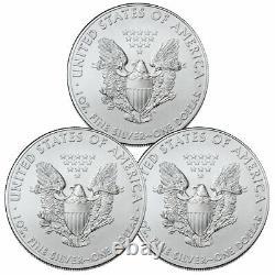 Lot De 3 2021 American Silver Eagle T-1 Bu Brilliant Uncirculated Coins