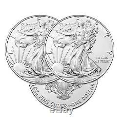 Lot De 3 Argent 2020 American Eagle 1 Oz Pièces De Monnaie. 999 Argent Fin Us Eagles 1 Oz