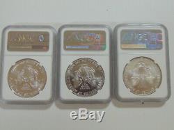 Lot De (3) Dollar American Eagle 1986 1991 1995 Htf Mercanti Ms 70 Pièces Ngc