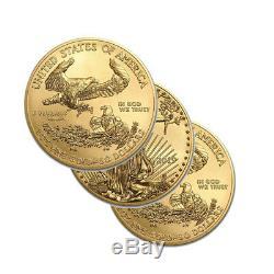 Lot De 3 Pièces D'or De 509 $ Us American Eagle De 1 Once 2019 Us
