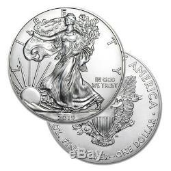 Lot De 40 Silver 2019 American Eagle 1 Oz. 999 Beaux Dollars Pièce 1 Us 2 Rouleaux De Menthe