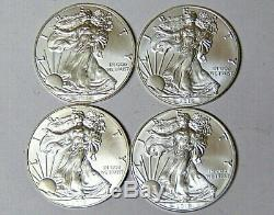Lot De 4 American Silver Eagles 2016 2017 2018 2019,999 En Argent Fin Dollars