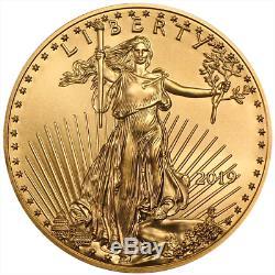 Lot De 50 - Rouleau Complet Non Circulé Brillant De 1/10 Oz 1/10 Oz American Gold De 2019