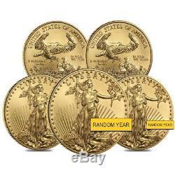 Lot De 5 1/4 Oz D'or American Eagle Pièce De 10 $ Bu (année Aléatoire)