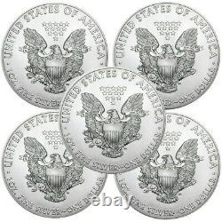 Lot De 5 2010 1 Oz. 999 American Silver Eagle $1 Coins Bu In Stock