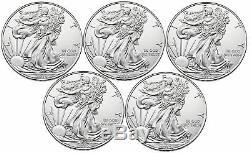 Lot De 5 2015 1 $ 1 Once D'argent American Eagle Bu