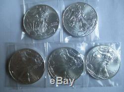 Lot De 5 2015 1 Once 999 Argent Ongecirculeerd American Eagle Coin