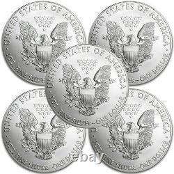 Lot De 5 2015 1 Oz. 999 American Silver Eagle $1 Coins Bu In Stock