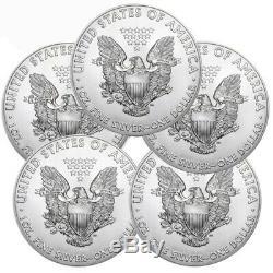Lot De 5 2016 Coins American Eagle 1 Oz. 999 En Argent Fin