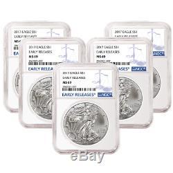 Lot De 5 2017 1 Dollar Américain Silver Eagle Ngc Ms69 Premières Versions Étiquette Bleue Er
