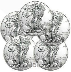 Lot De 5 2017 1 Oz 999 Américain Silver Eagle Gem Bu 1 $ Pièces