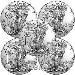 Lot De 5 2019 $ 1 American Silver Eagle 1 Oz Brillant Non Circulé