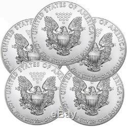 Lot De 5 2019 1 Oz. 999 American Silver Eagle Bu $ 1 Pièces