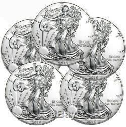 Lot De 5 2019 1 Oz American Silver Eagle 1 $ Pièces Gem Bu