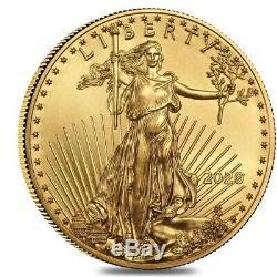 Lot De 5 2020 1/4 Oz D'or American Eagle Pièce De 10 $ Bu
