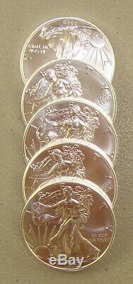 Lot De (5) 2020 1 Oz Américain Silver Eagle Bullion Coins Gem Uncirculated