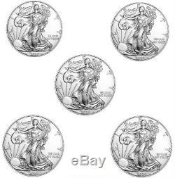 Lot De 5 2020 1 Oz American Silver Eagle 1 $ Pièces Gem Bu Prévente