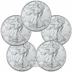 Lot De 5 2020 1 Oz American Silver Eagle 1 $ Pièces Gem Bu Sku59438