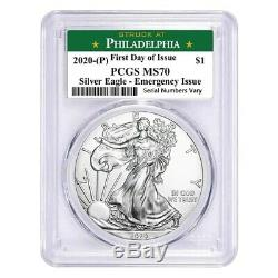 Lot De 5-2020 (p) Problème 1 Oz Silver Eagle Pcgs Ms 70 Fdoi Philadelphie Urgence